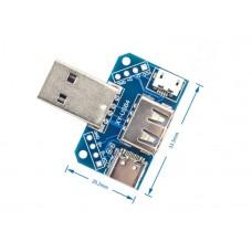 Адаптер переходник USB в microUSB + Type-С + USB